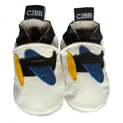 Krabbelschuhe Babyschuhe geschmeidiges Leder - Junge | Schwarzes Flugzeug