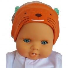Bonnet bébé petit chat - taille unique | Orange bleu ciel
