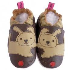 Zapitillas de bebe de cuero suave niños antideslizante | Perro marrón punza rojo