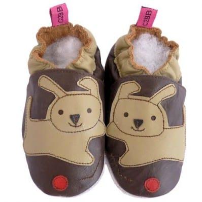 Zapitillas de bebe de cuero suave niños antideslizante   Perro marrón punza rojo
