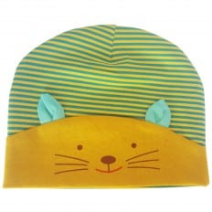 C2BB - Baby hat small cat - one size | Yellow and green