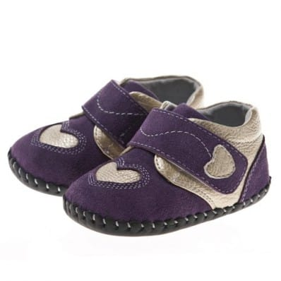 Little Blue Lamb - Baby girls first steps soft leather shoes | Purple with silver heart