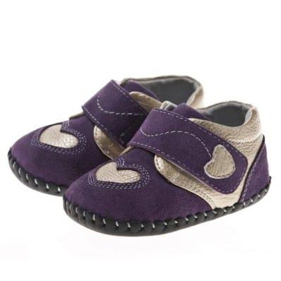 Little Blue Lamb - Chaussures premiers pas cuir souple | Violet coeur argent