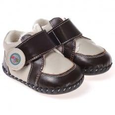 CAROCH - Zapatos de bebe primeros pasos de cuero niños   Zapatillas de deporte forradas Gris y marrón oscuro