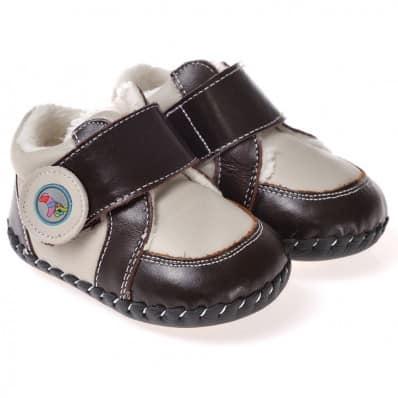 CAROCH - Chaussures premiers pas cuir souple | Baskets fourrées grises et marron foncé