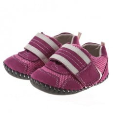 Little Blue Lamb - Baby girls first steps soft leather shoes | Pink Sneakers white velcro