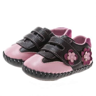 Little Blue Lamb - Chaussures premiers pas cuir souple | Baskets noires et rose