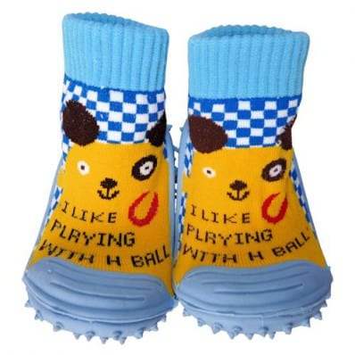 Baby boys Socks shoes with grippy rubber | Small yellow animal