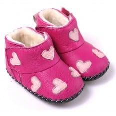 CAROCH - Chaussures premiers pas cuir souple   Bottines rose petits coeurs