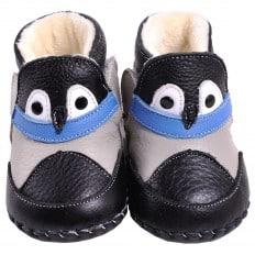 CAROCH - Chaussures premiers pas cuir souple | Montantes fourrées noires