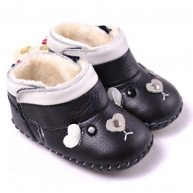 CAROCH - Chaussures premiers pas cuir souple | Montantes noires petite souris