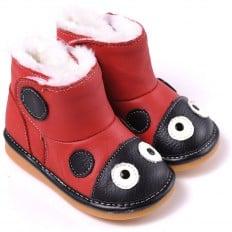 CAROCH - Zapatos de cuero chirriantes - squeaky shoes niñas | Botas de mariquita roja