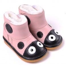 CAROCH - Krabbelschuhe Babyschuhe squeaky Leder - Mädchen | Rosa Marienkäfer Stiefel