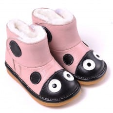CAROCH - Squeaky Leather Toddler Girls Shoes | Pink filled bootees ladybug