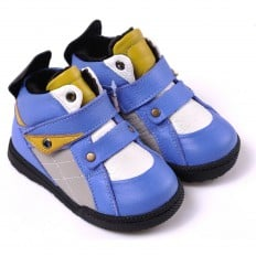 CAROCH - Krabbelschuhe Babyschuhe  Leder - Jungen | Blau und gelb gefüllte stiefel