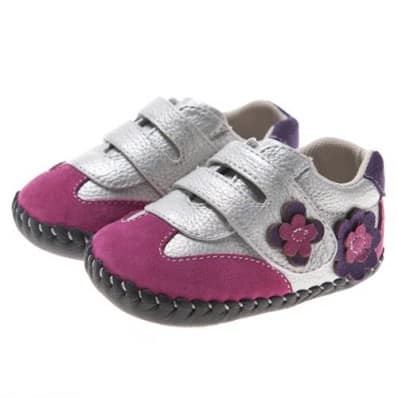 Little Blue Lamb - Baby girls first steps soft leather shoes | Silver and pink sneakers