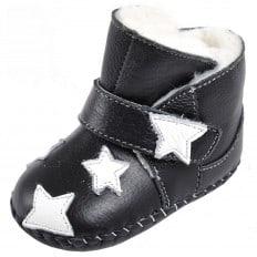 CAROCH - Zapatos de bebe primeros pasos de cuero niñas | Montantes negras forradas estrella a blanca