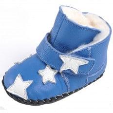 CAROCH - Chaussures premiers pas cuir souple | Montantes bleues fourrées étoile
