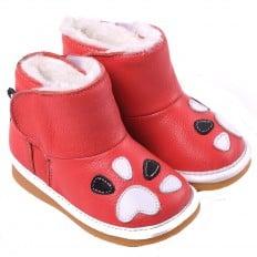 CAROCH - Zapatos de cuero chirriantes - squeaky shoes niñas | Botas forradas rosa oscuro