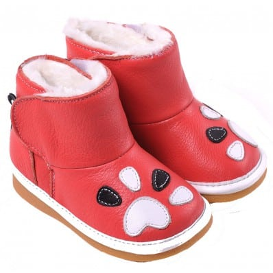CAROCH - Squeaky Leather Toddler Girls Shoes | Dark pink filled boots