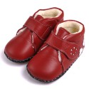 CAROCH - Baby girls first steps soft leather shoes | Red filled bootees 3 hearts