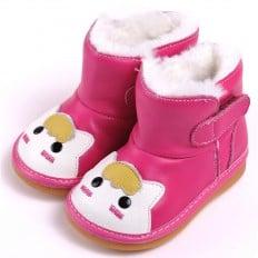 CAROCH - Krabbelschuhe Babyschuhe squeaky Leder - Mädchen | Rose kleine Katze Stiefel
