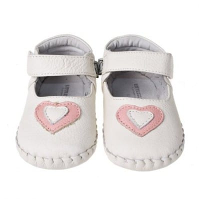Little Blue Lamb - Baby girls first steps soft leather shoes | White with pink heart ceremony