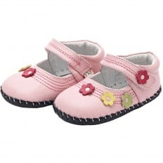 YXY - Baby girls first steps soft leather shoes | Pink small flower