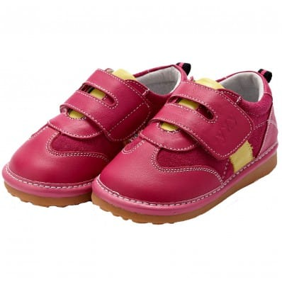 YXY - Krabbelschuhe Babyschuhe squeaky Leder - Mädchen   Gelben Streifen rosa Turnschuhe