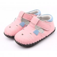 FREYCOO - Krabbelschuhe Babyschuhe Leder - Mädchen | Rosa kleine Maus