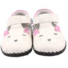 FREYCOO - Zapatos de bebe primeros pasos de cuero niñas | Pequeño ratón de color blanco