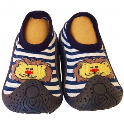 Chaussons-chaussettes enfant antidérapants semelle souple LION