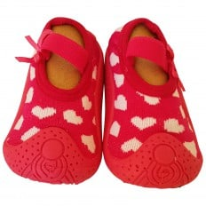 Calcetines con suela antideslizante para niñas | Fucsia corazones blancos