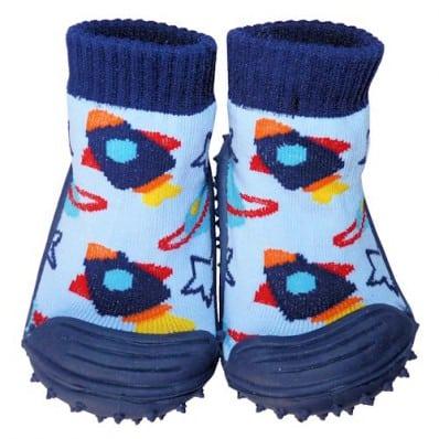 Chaussons-chaussettes bébé antidérapants semelle souple | Petite fusée