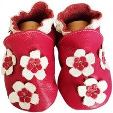 Scarpine Morbida Cuoio Bambini - ragazza | Grosso fiore rosa