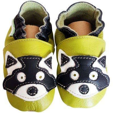 Soft leather baby shoes boys | Green raccoon