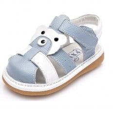 YXY - Krabbelschuhe Babyschuhe squeaky Leder - Jungen | Blau und weiß geschlossen Sandalen