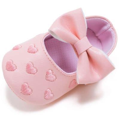 Chaussons bébé enfant toile et tissu COEUR ET NOEUD