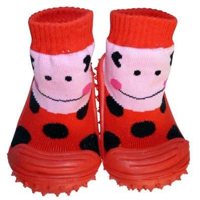 Hausschuhe - Socken Baby Kind geschmeidige Schuhsohle Mädchen | Frau Marienkäfer
