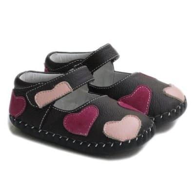 Little Blue Lamb - Chaussures premiers pas cuir souple | Marron petits coeurs
