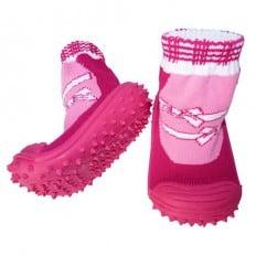 Chaussons-chaussettes bébé antidérapants semelle souple | Rose noeud blanc