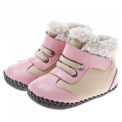 Little Blue Lamb - Chaussures premiers pas cuir souple | Bottines rose et beige