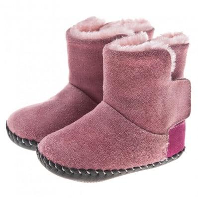 Little Blue Lamb - Chaussures premiers pas cuir souple | Bottines rose talon fushia