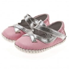 Little Blue Lamb - Baby girls first steps soft leather shoes | Babies pink silvery laces