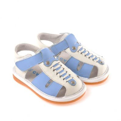 CAROCH - Scarpine bimba primi passi con fischietto | Sandali bianco e blu