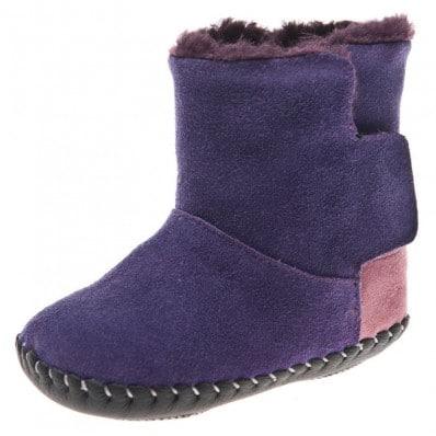 Little Blue Lamb - Zapatos de bebe primeros pasos de cuero niñas | Botines morados talón rosa