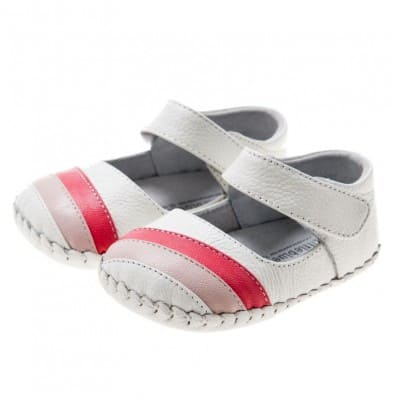 Little Blue Lamb - Baby girls first steps soft leather shoes | White babies red strip