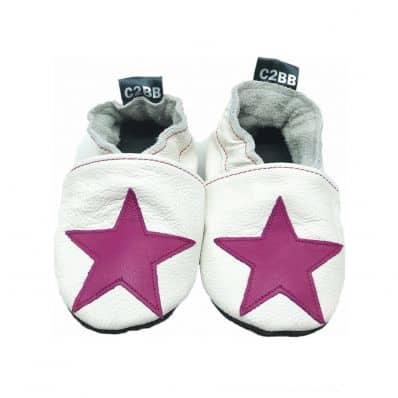 Chaussons en cuir souple STAR DARK PINK C2BB - chaussons, chaussures, chaussettes pour bébé