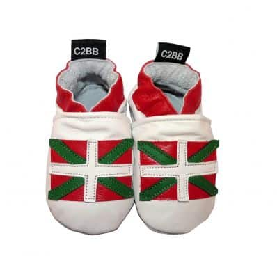 Soft leather baby shoes girls & boys | Basque flag