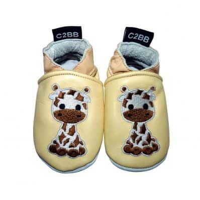 Zapitillas de bebe de cuero suave niñas antideslizante | Girafa